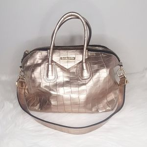 Charles Jourdan Croco Embossed Leather Bronze Bag